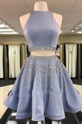 2 Piece Cheap Cocktail Dresses Blue A Line Evening Dresses Short Elegant_1