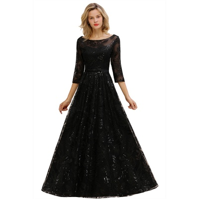 Evening dress long black | Prom dresses with sleeves_1