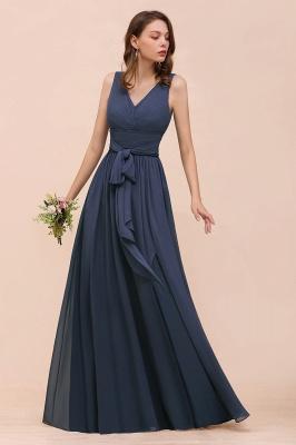 Grau Brautjungfernkleider Lang Günstig   Chiffon Kleider Hochzeitsparty_5