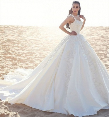 Princess wedding dresses cream with lace straps wedding dresses with train_3