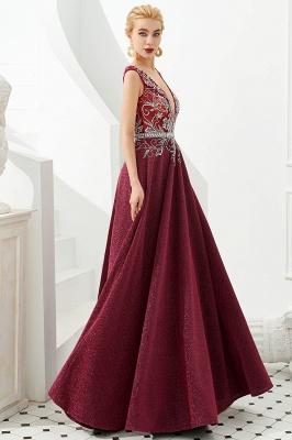 Evening dress long v neckline | Red prom dresses cheap_7