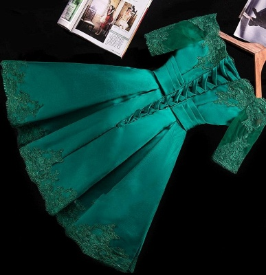 Turkish Prom Dresses Cocktail Dresses With Sleeves Satin Short Evening Wear Online_4