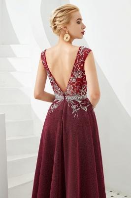 Evening dress long v neckline | Red prom dresses cheap_6