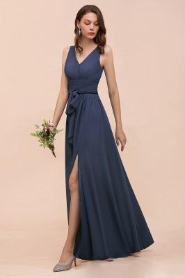 Grau Brautjungfernkleider Lang Günstig   Chiffon Kleider Hochzeitsparty_4