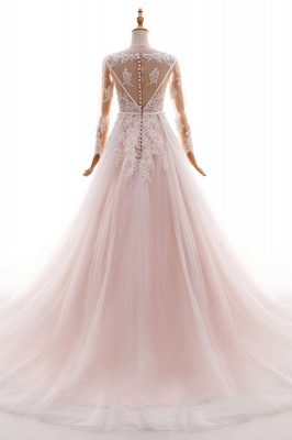 Blush pink wedding dresses with sleeves | Wedding dresses cheap online_3