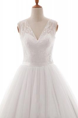 Wedding dresses v neckline | Simple wedding dress A line_4