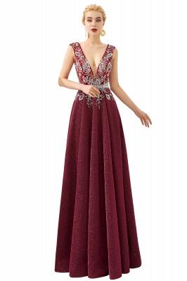 Evening dress long v neckline | Red prom dresses cheap_1