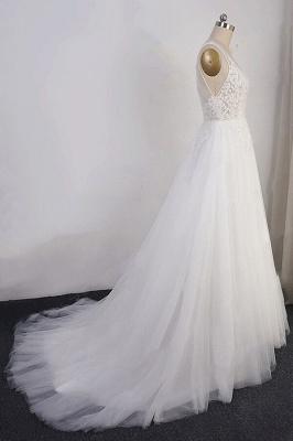 Schlichte Brautkleid A Linie | Hochzeitskleider mit Spitze_5