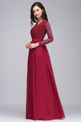 Evening dresses long wine red | Prom dresses with sleeves_5