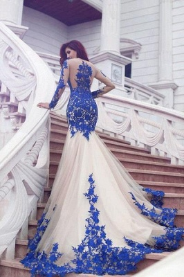 Long Sleeves Evening Dresses Blue With Lace Tulle Evening Wear Prom Dresses_1