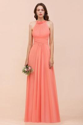 Coral Brautjungfernkleider Lang Günstig | Chiffon Kleider für Brautjungfern_1