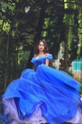 Blau Quubceanera Kleider Lang Günstig Perlen Schulterfrei Abendkleider Abendmoden_2