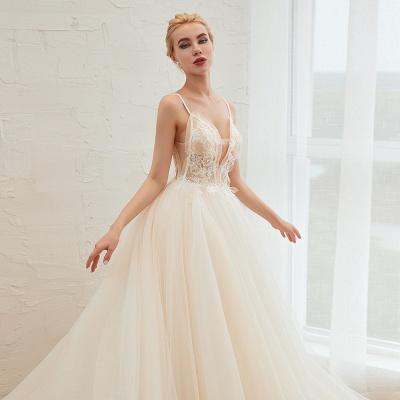 Elegante Brautkleider A linie | Hochzeitskleider mit Spitze Online_18