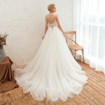 Modern wedding dress A line | Tulle wedding dresses with lace_23