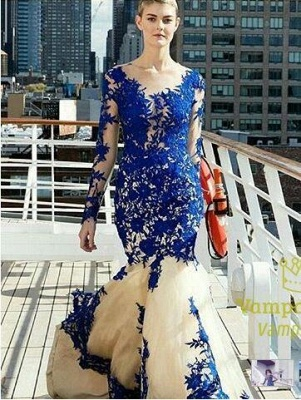 Long Sleeves Evening Dresses Blue With Lace Tulle Evening Wear Prom Dresses_2