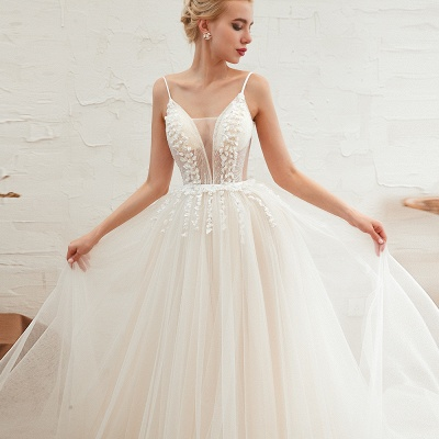 Modern wedding dress A line | Tulle wedding dresses with lace_20