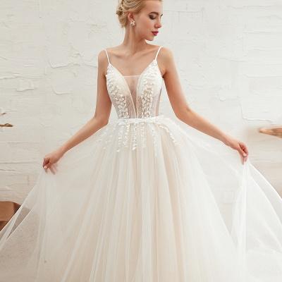 Modern Brautkleid A linie   Tülle Hochzeitskleider mit Spitze_20