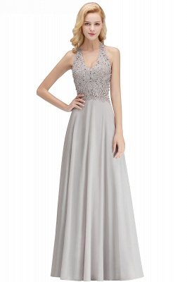 Silver Evening Dresses Long V Neck | Evening dress with lace_20