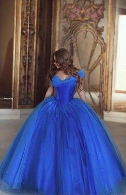 Blau Quubceanera Kleider Lang Günstig Perlen Schulterfrei Abendkleider Abendmoden_1