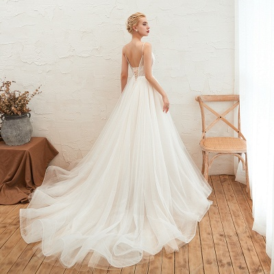 Modern wedding dress A line | Tulle wedding dresses with lace_14