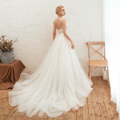 Modern Brautkleid A linie   Tülle Hochzeitskleider mit Spitze_14