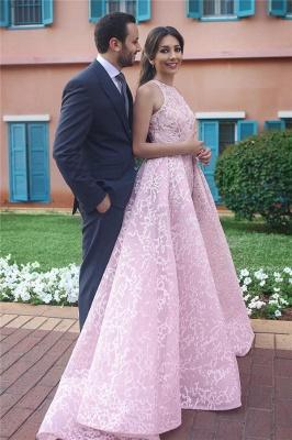 Elegante Rosa Abendkleider Lang Günstig A Linie Abendmoden Abiballkleider_1