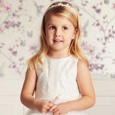 Blumenmädchen Kleid Spitze | Kinder Blumenmädchen Kleider Weiß_4