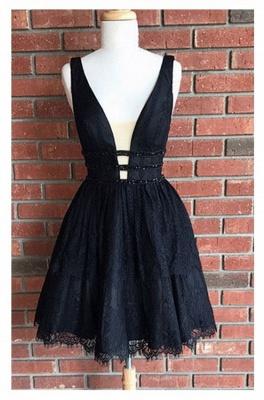 Elegant Cocktail Dresses Black Lace Cheap A Line Party Dresses Prom Dresses_2