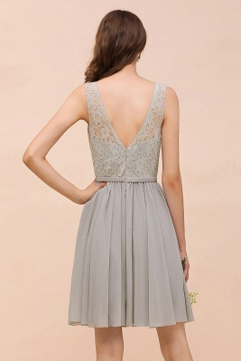 Silver Bridesmaid Dresses Short Cheap | Chiffon dresses with lace_3
