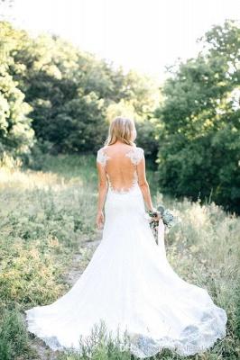 Weiß Brautkleider Mit Spitze Meerjungfrau Stil Satin Brautmoden Hochzeitskleider_3