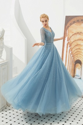 Evening dresses blue | Prom dresses long with sleeves_4