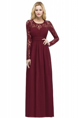 Red Prom Dresses Long Cheap | Evening dress lace sleeves_1
