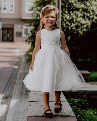 Blumenmädchen Kleid Spitze | Kinder Blumenmädchen Kleider Weiß_2