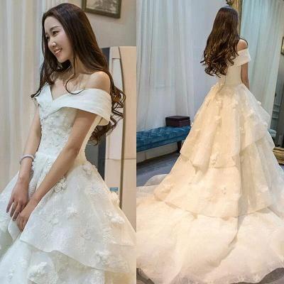 Schicke Weiß Brautkleider Spitze Blumen Organza Hochzeitskleider Nachmaße_6