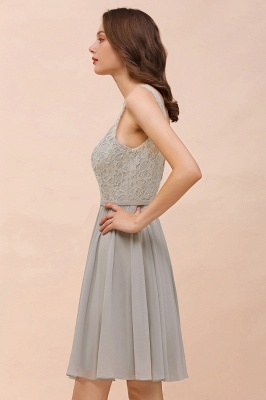 Silver Bridesmaid Dresses Short Cheap | Chiffon dresses with lace_10