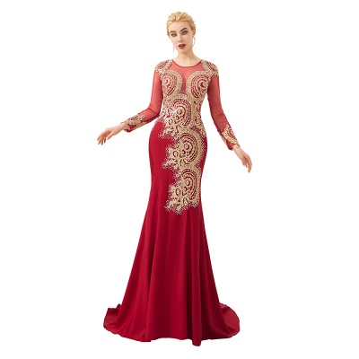 Evening dress long red | Prom dresses with sleeves_17