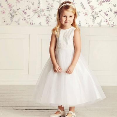 Blumenmädchen Kleid Spitze | Kinder Blumenmädchen Kleider Weiß_5