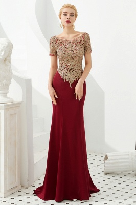 Evening dresses long glitter | Red prom dresses with sleeves_2