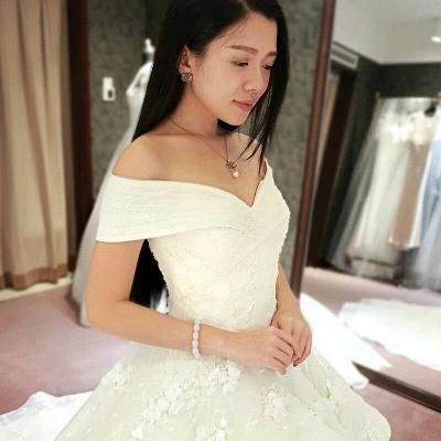 Schicke Weiß Brautkleider Spitze Blumen Organza Hochzeitskleider Nachmaße_2