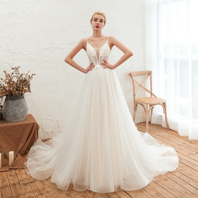 Modern wedding dress A line | Tulle wedding dresses with lace_7