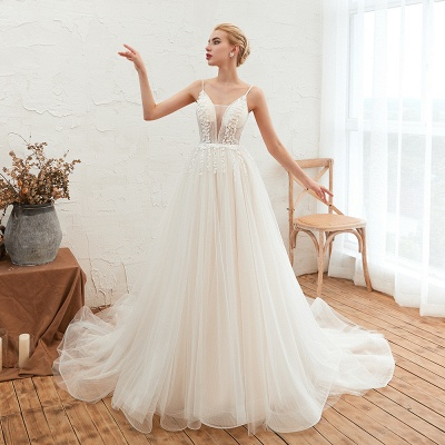 Modern wedding dress A line | Tulle wedding dresses with lace_5