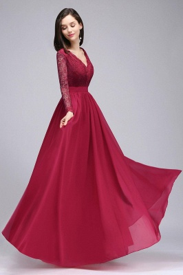 Evening dresses long wine red | Prom dresses with sleeves_1