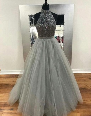 Silver Evening Dresses Long Cheap A Line Tulle Evening Wear Prom Dresses_1