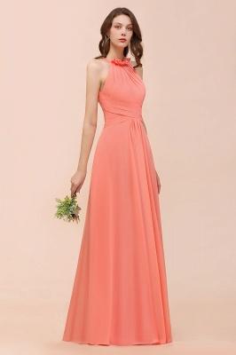 Coral Brautjungfernkleider Lang Günstig | Chiffon Kleider für Brautjungfern_9