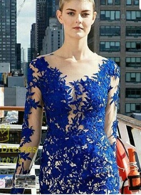 Long Sleeves Evening Dresses Blue With Lace Tulle Evening Wear Prom Dresses_3