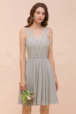 Silver Bridesmaid Dresses Short Cheap | Chiffon dresses with lace_1