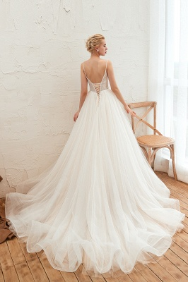 Modern wedding dress A line | Tulle wedding dresses with lace_19