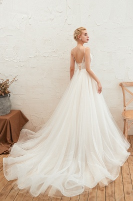 Modern wedding dress A line | Tulle wedding dresses with lace_10