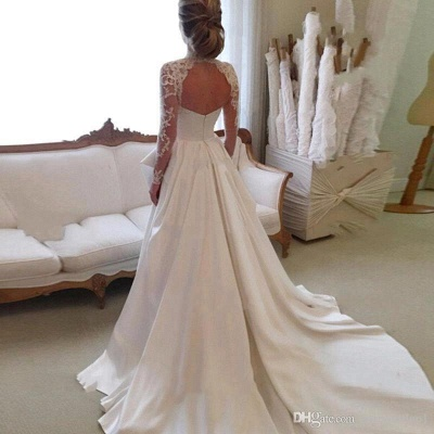 Cheap Wedding Dresses Lace With Sleeves White A Line Wedding Dresses Online_3