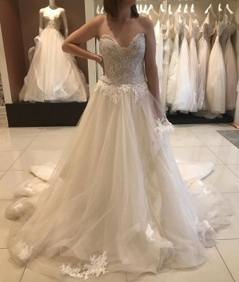 Simple wedding dresses A line | Wedding dresses with lace_1